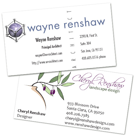 business cards for Wayne and Cheryl